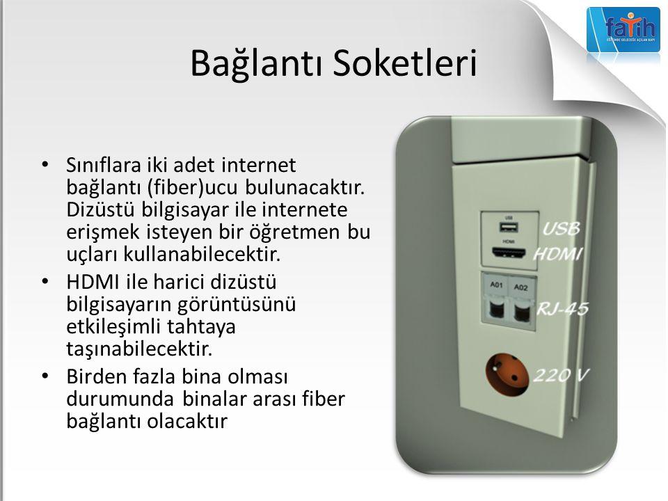 Bağlantı Soketleri Sınıflara iki adet internet bağlantı (fiber)ucu bulunacaktır. Dizüstü bilgisayar ile internete erişmek isteyen bir öğretmen bu uçla