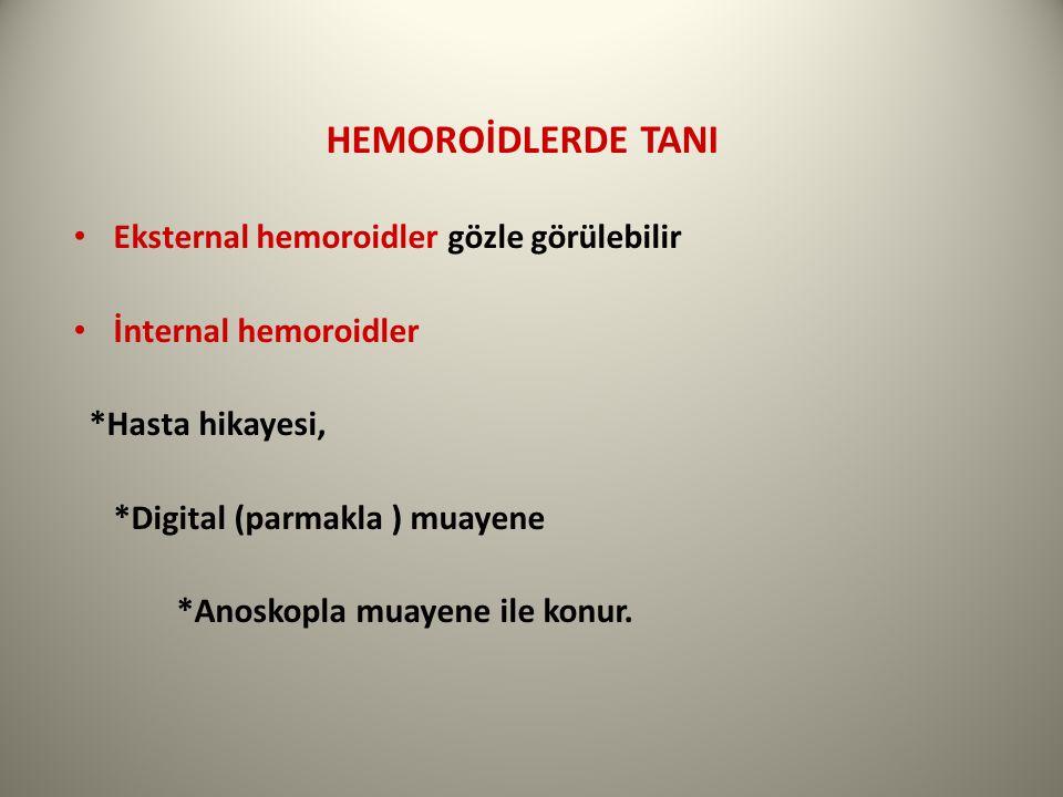 HEMOROİDLERDE TANI Eksternal hemoroidler gözle görülebilir İnternal hemoroidler *Hasta hikayesi, *Digital (parmakla ) muayene *Anoskopla muayene ile konur.