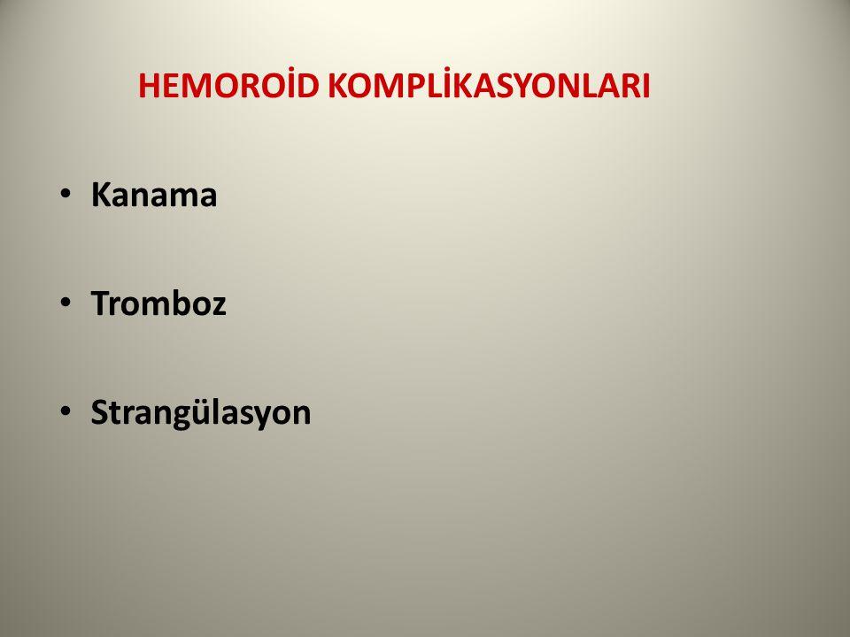 HEMOROİD KOMPLİKASYONLARI Kanama Tromboz Strangülasyon