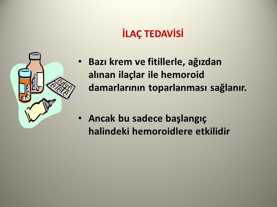İLAÇ TEDAVİSİ Bazı krem ve fitillerle, ağızdan alınan ilaçlar ile hemoroid damarlarının toparlanması sağlanır.