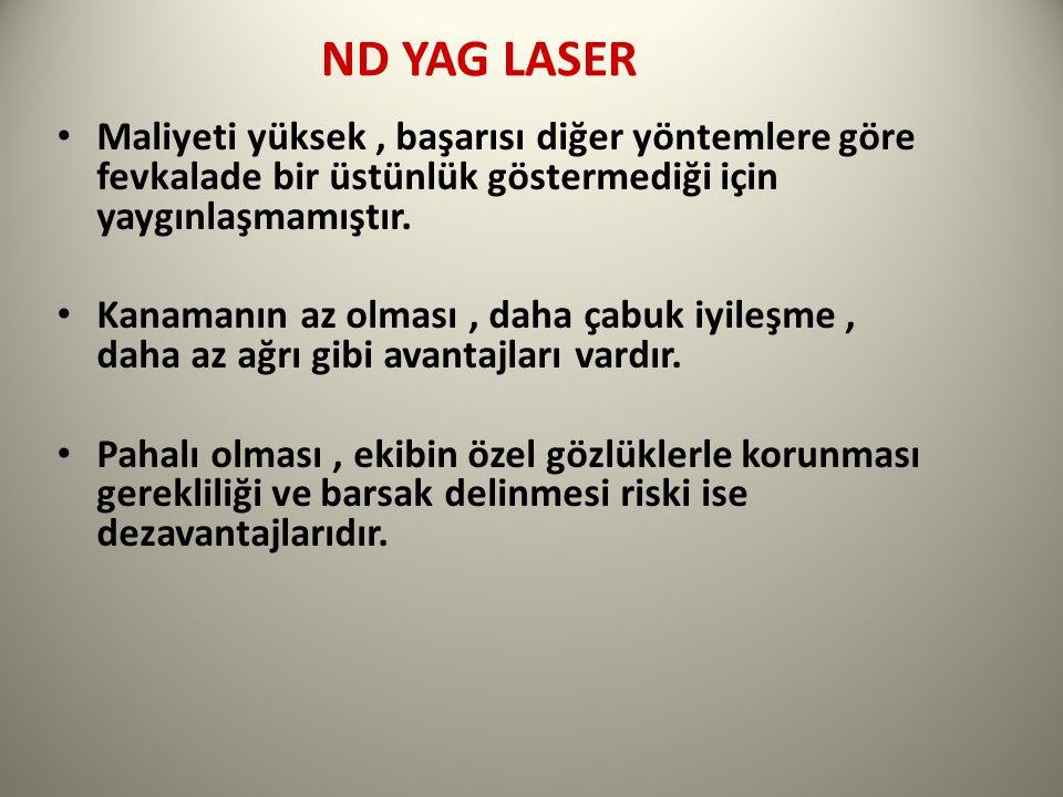 ND YAG LASER Maliyeti yüksek, başarısı diğer yöntemlere göre fevkalade bir üstünlük göstermediği için yaygınlaşmamıştır.
