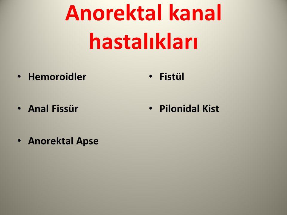 Anorektal kanal hastalıkları Hemoroidler Anal Fissür Anorektal Apse Fistül Pilonidal Kist