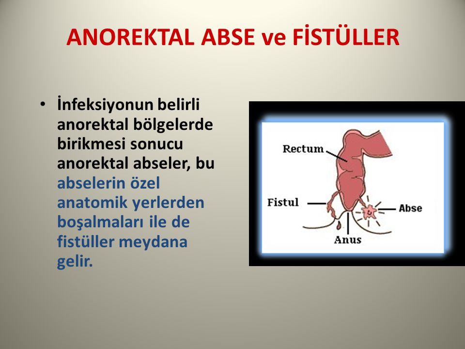 ANOREKTAL ABSE ve FİSTÜLLER İnfeksiyonun belirli anorektal bölgelerde birikmesi sonucu anorektal abseler, bu abselerin özel anatomik yerlerden boşalmaları ile de fistüller meydana gelir.