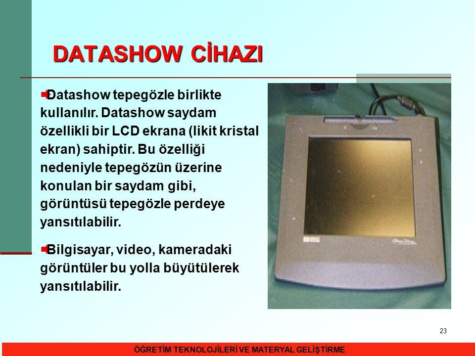 23 DATASHOW CİHAZI  Datashow tepegözle birlikte kullanılır. Datashow saydam özellikli bir LCD ekrana (likit kristal ekran) sahiptir. Bu özelliği nede