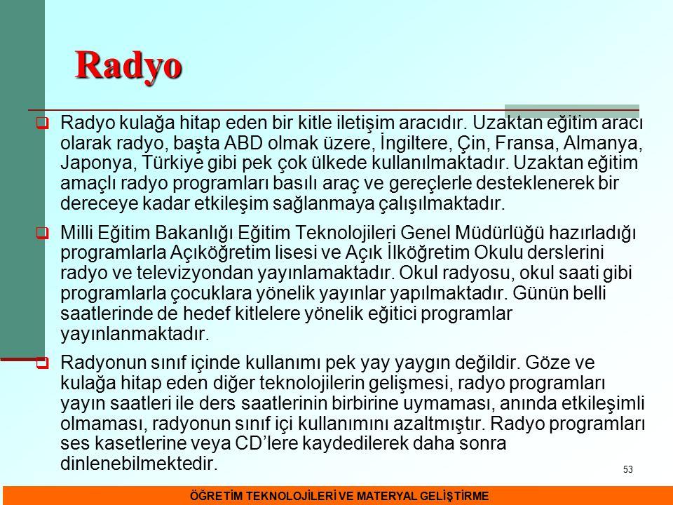 53 Radyo  Radyo kulağa hitap eden bir kitle iletişim aracıdır. Uzaktan eğitim aracı olarak radyo, başta ABD olmak üzere, İngiltere, Çin, Fransa, Alma