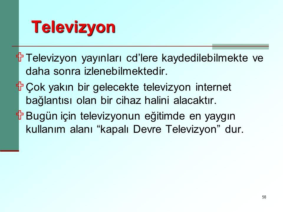 58 Televizyon U Televizyon yayınları cd'lere kaydedilebilmekte ve daha sonra izlenebilmektedir. U Çok yakın bir gelecekte televizyon internet bağlantı