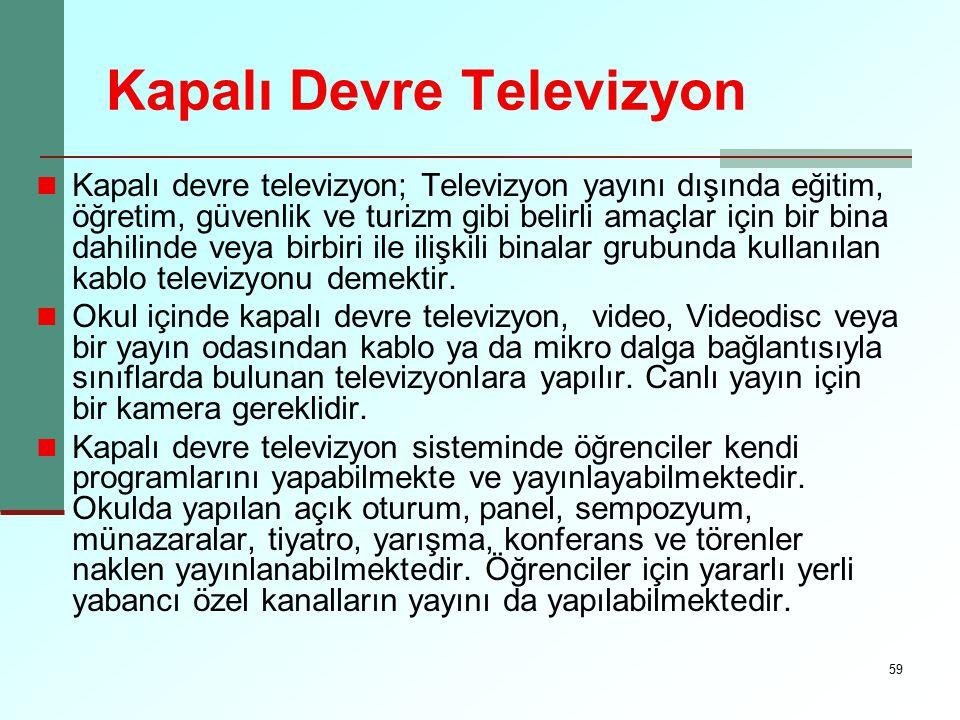 59 Kapalı Devre Televizyon Kapalı devre televizyon; Televizyon yayını dışında eğitim, öğretim, güvenlik ve turizm gibi belirli amaçlar için bir bina d
