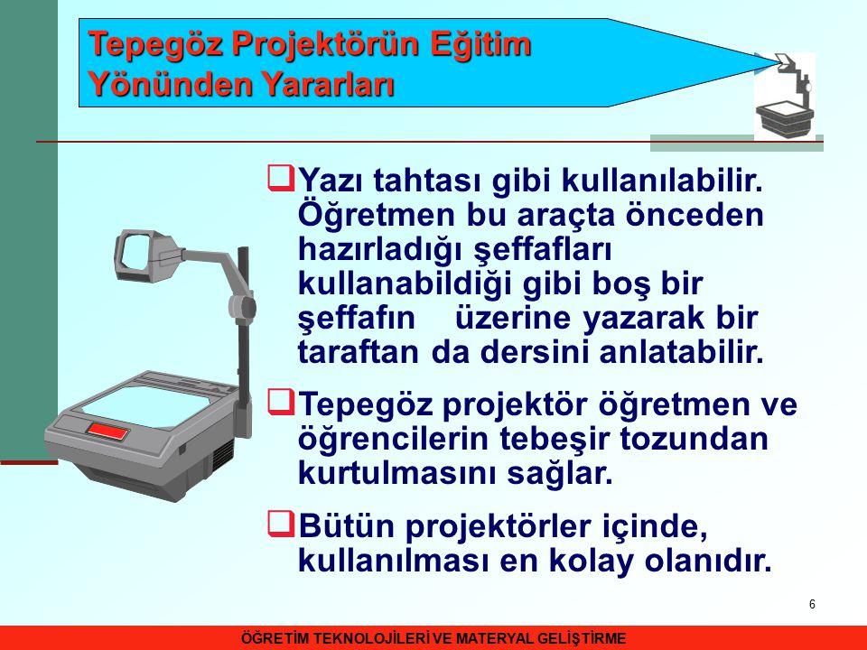17 SLAYT PROJEKTÖR VE SLAYTLAR  Slaytların ekrana yansıtılmasına yarayan araca slayt projektörü denir.