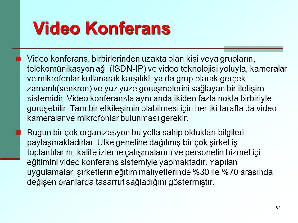 67 Video Konferans Video konferans, birbirlerinden uzakta olan kişi veya grupların, telekomünikasyon ağı (ISDN-IP) ve video teknolojisi yoluyla, kamer