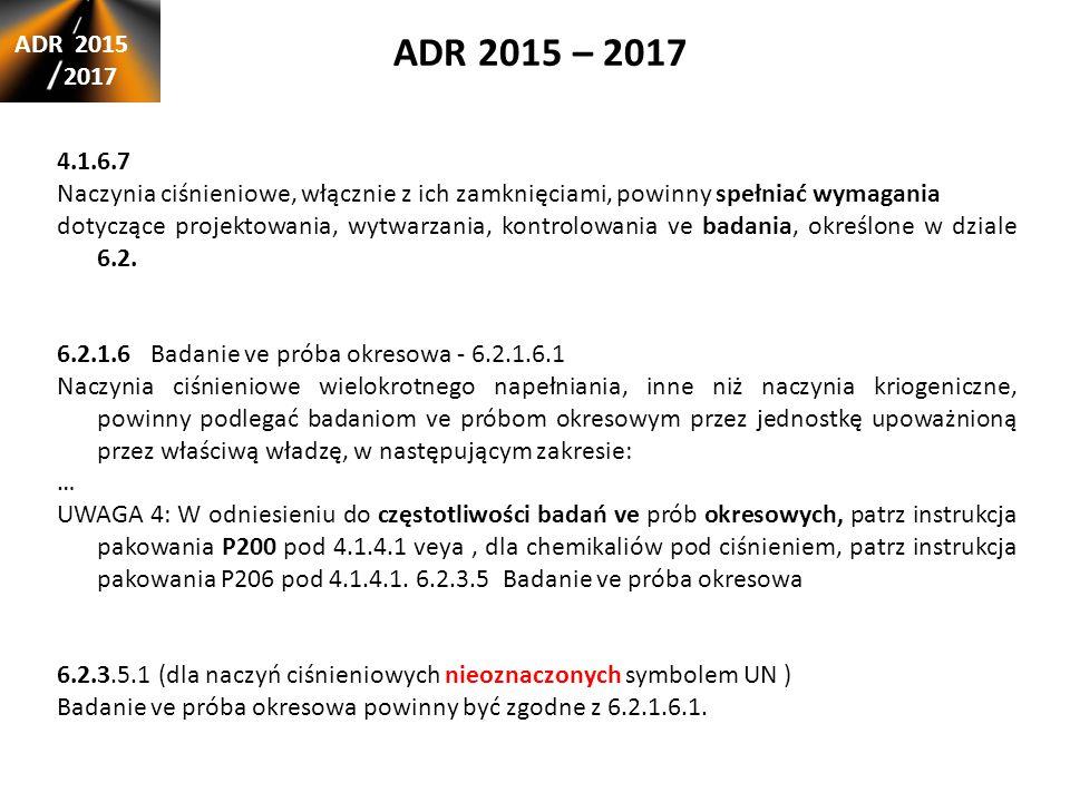 ADR 2015 – 2017 ADR 2015 2017 4.1.6.7 Naczynia ciśnieniowe, włącznie z ich zamknięciami, powinny spełniać wymagania dotyczące projektowania, wytwarzania, kontrolowania ve badania, określone w dziale 6.2.