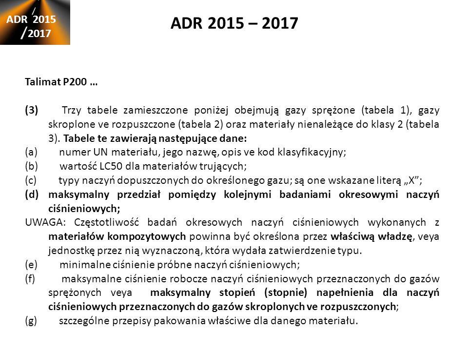 ADR 2015 – 2017 ADR 2015 2017 Talimat P200 … (3) Trzy tabele zamieszczone poniżej obejmują gazy sprężone (tabela 1), gazy skroplone ve rozpuszczone (tabela 2) oraz materiały nienależące do klasy 2 (tabela 3).