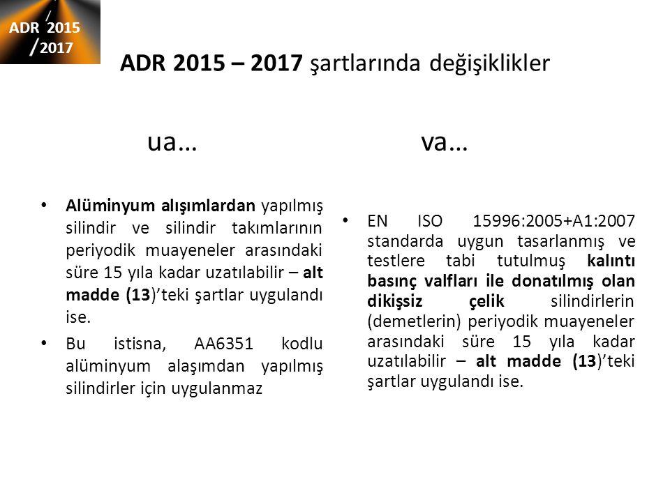 ADR 2015 – 2017 şartlarında değişiklikler EN ISO 15996:2005+A1:2007 standarda uygun tasarlanmış ve testlere tabi tutulmuş kalıntı basınç valfları ile donatılmış olan dikişsiz çelik silindirlerin (demetlerin) periyodik muayeneler arasındaki süre 15 yıla kadar uzatılabilir – alt madde (13)'teki şartlar uygulandı ise.