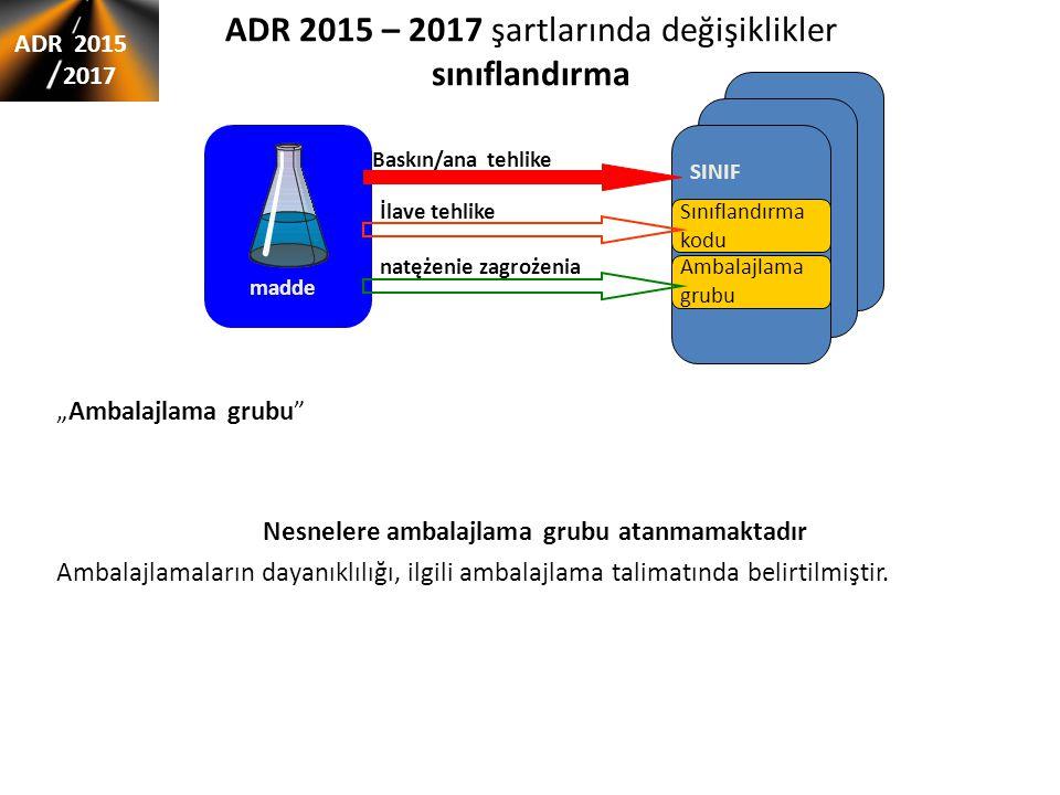 """ADR 2015 – 2017 şartlarında değişiklikler sınıflandırma ADR 2015 2017 """"Ambalajlama grubu Nesnelere ambalajlama grubu atanmamaktadır Ambalajlamaların dayanıklılığı, ilgili ambalajlama talimatında belirtilmiştir."""