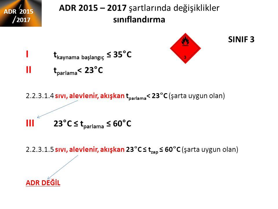 ADR 2015 – 2017 şartlarında değişiklikler sınıflandırma ADR 2015 2017 SINIF 3 I t kaynama başlangıç ≤ 35°C II t parlama < 23°C 2.2.3.1.4 sıvı, alevlenir, akışkan t parlama < 23°C (şarta uygun olan) III 23°C ≤ t parlama ≤ 60°C 2.2.3.1.5 sıvı, alevlenir, akışkan 23°C ≤ t zap ≤ 60°C (şarta uygun olan) ADR DEĞİL