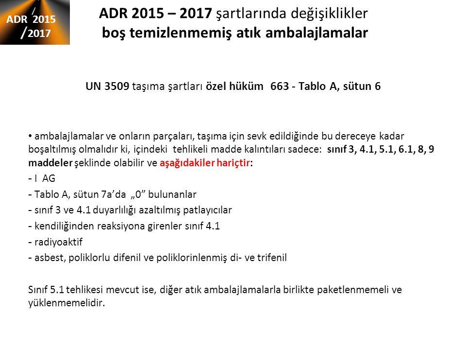 """ADR 2015 – 2017 şartlarında değişiklikler boş temizlenmemiş atık ambalajlamalar UN 3509 taşıma şartları özel hüküm 663 - Tablo A, sütun 6 ambalajlamalar ve onların parçaları, taşıma için sevk edildiğinde bu dereceye kadar boşaltılmış olmalıdır ki, içindeki tehlikeli madde kalıntıları sadece: sınıf 3, 4.1, 5.1, 6.1, 8, 9 maddeler şeklinde olabilir ve aşağıdakiler hariçtir: - I AG - Tablo A, sütun 7a'da """"0 bulunanlar - sınıf 3 ve 4.1 duyarlılığı azaltılmış patlayıcılar - kendiliğinden reaksiyona girenler sınıf 4.1 - radiyoaktif - asbest, poliklorlu difenil ve poliklorinlenmiş di- ve trifenil Sınıf 5.1 tehlikesi mevcut ise, diğer atık ambalajlamalarla birlikte paketlenmemeli ve yüklenmemelidir."""