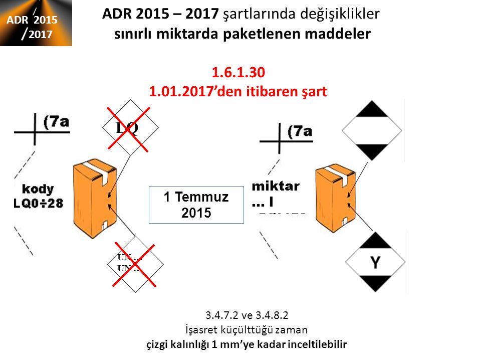 ADR 2015 – 2017 şartlarında değişiklikler sınırlı miktarda paketlenen maddeler ADR 2015 2017 UN … LQ miktar … l 1 Temmuz 2015 3.4.7.2 ve 3.4.8.2 İşasret küçülttüğü zaman çizgi kalınlığı 1 mm'ye kadar inceltilebilir 1.6.1.30 1.01.2017'den itibaren şart