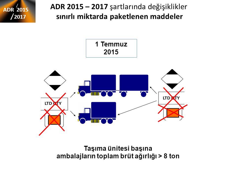ADR 2015 – 2017 şartlarında değişiklikler sınırlı miktarda paketlenen maddeler ADR 2015 2017 1 Temmuz 2015 Taşıma ünitesi başına ambalajların toplam brüt ağırlığı > 8 ton