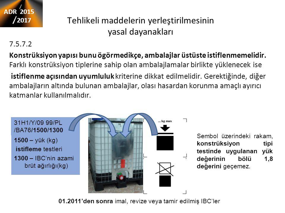 Tehlikeli maddelerin yerleştirilmesinin yasal dayanakları 7.5.7.2 Konstrüksiyon yapısı bunu ögörmedikçe, ambalajlar üstüste istiflenmemelidir.