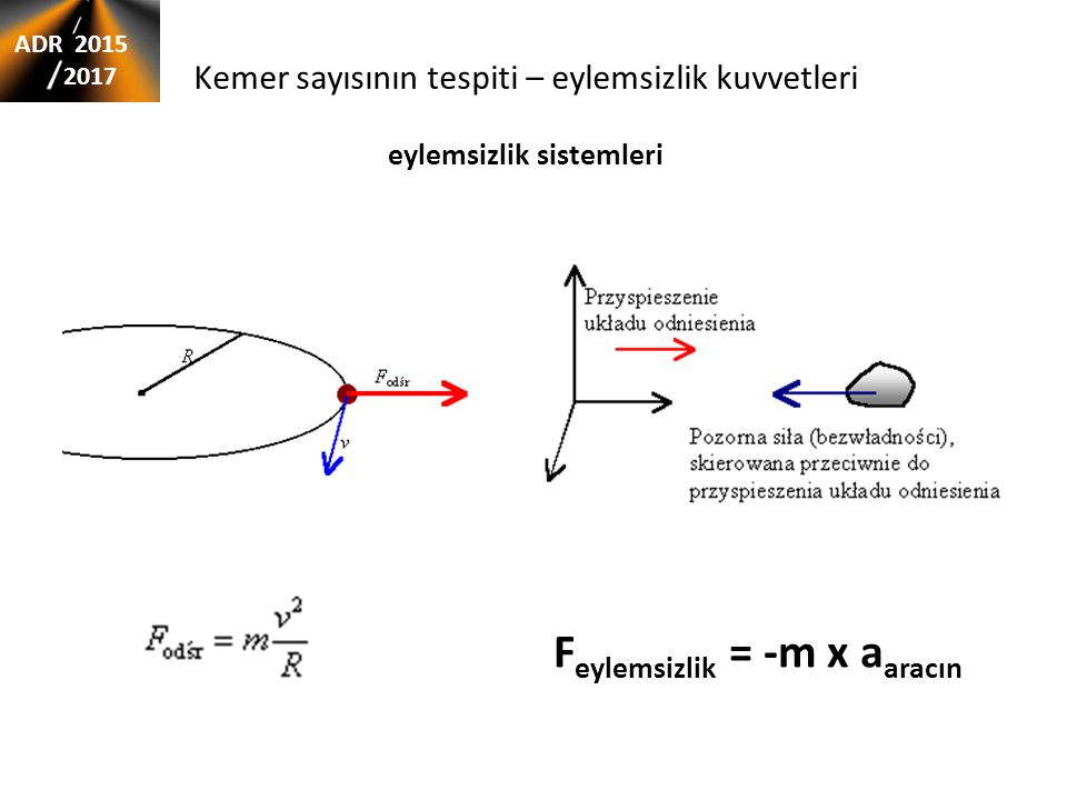 Kemer sayısının tespiti – eylemsizlik kuvvetleri eylemsizlik sistemleri F eylemsizlik = -m x a aracın ADR 2015 2017
