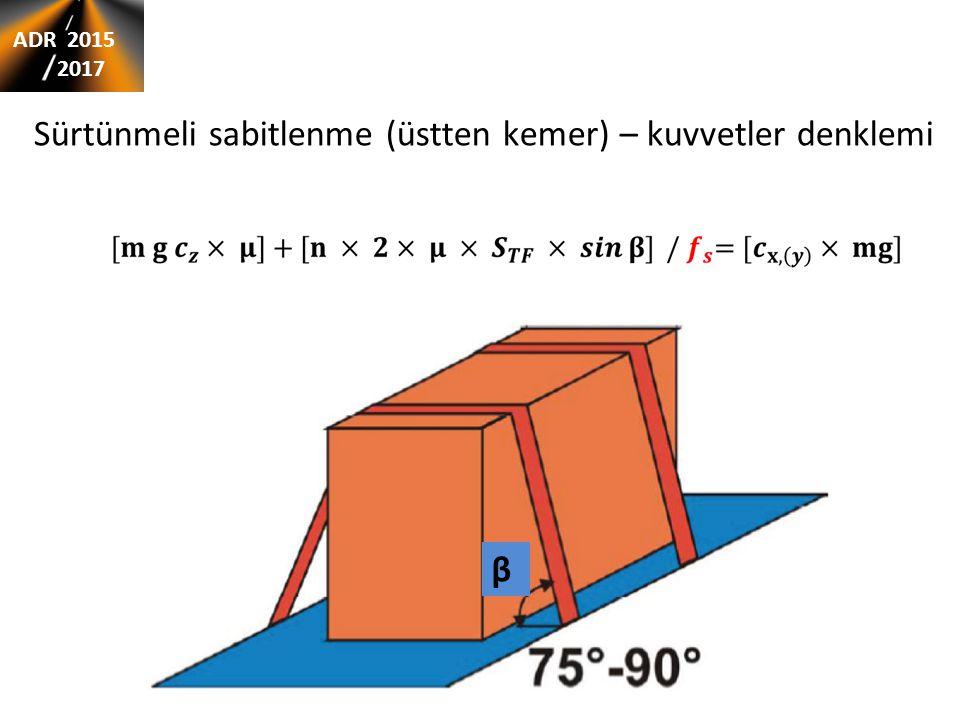 Sürtünmeli sabitlenme (üstten kemer) – kuvvetler denklemi β ADR 2015 2017