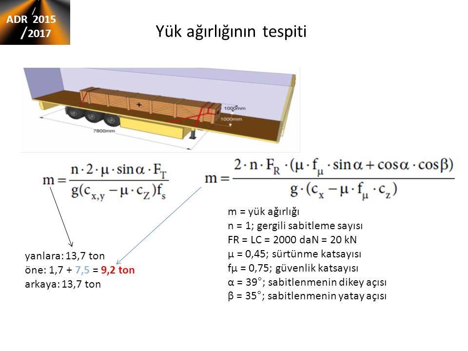 Yük ağırlığının tespiti m = yük ağırlığı n = 1; gergili sabitleme sayısı FR = LC = 2000 daN = 20 kN μ = 0,45; sürtünme katsayısı fμ = 0,75; güvenlik katsayısı α = 39°; sabitlenmenin dikey açısı β = 35°; sabitlenmenin yatay açısı yanlara: 13,7 ton öne: 1,7 + 7,5 = 9,2 ton arkaya: 13,7 ton ADR 2015 2017
