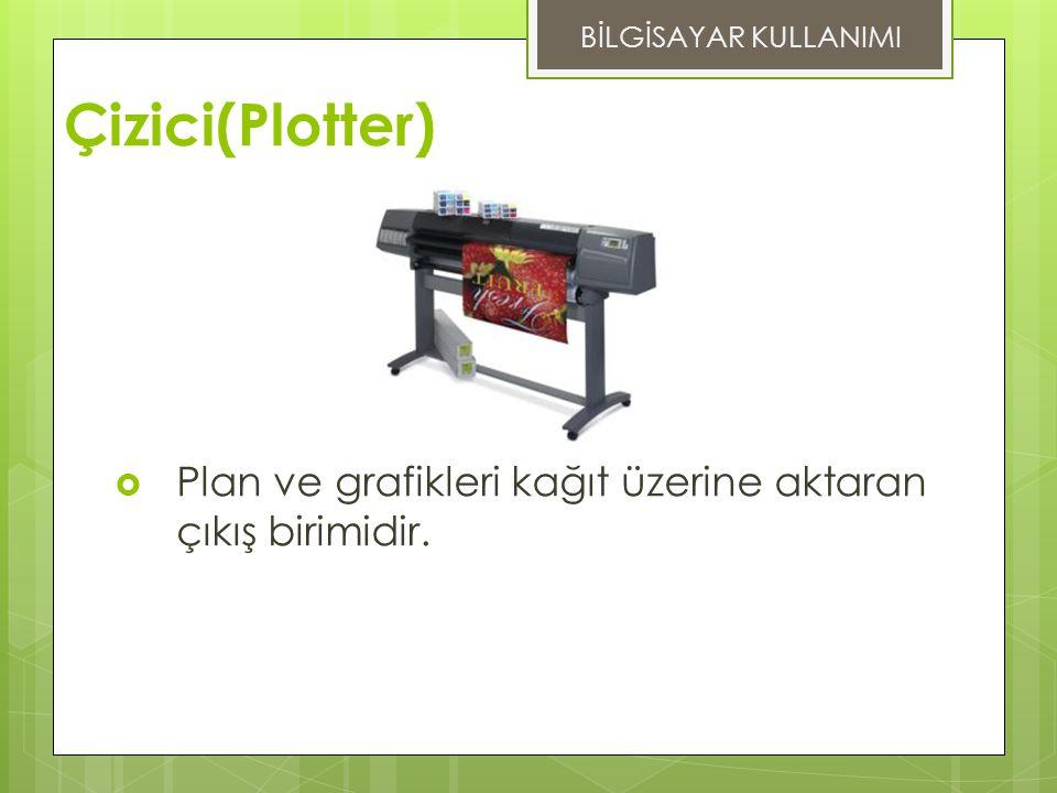 Çizici(Plotter)  Plan ve grafikleri kağıt üzerine aktaran çıkış birimidir. BİLGİSAYAR KULLANIMI