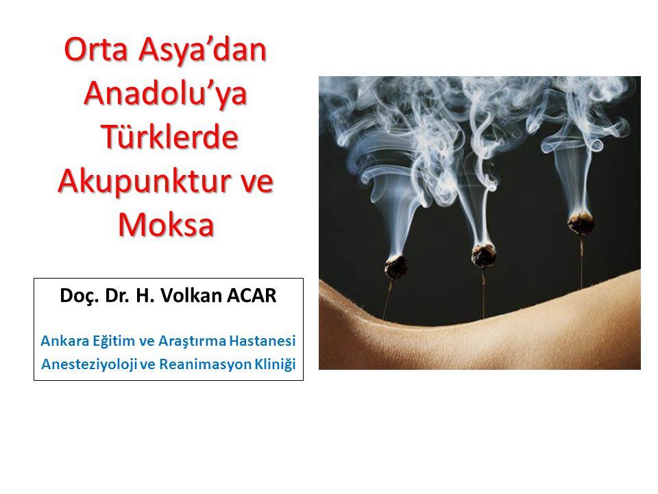 Orta Asya'dan Anadolu'ya Türklerde Akupunktur ve Moksa Doç. Dr. H. Volkan ACAR Ankara Eğitim ve Araştırma Hastanesi Anesteziyoloji ve Reanimasyon Klin