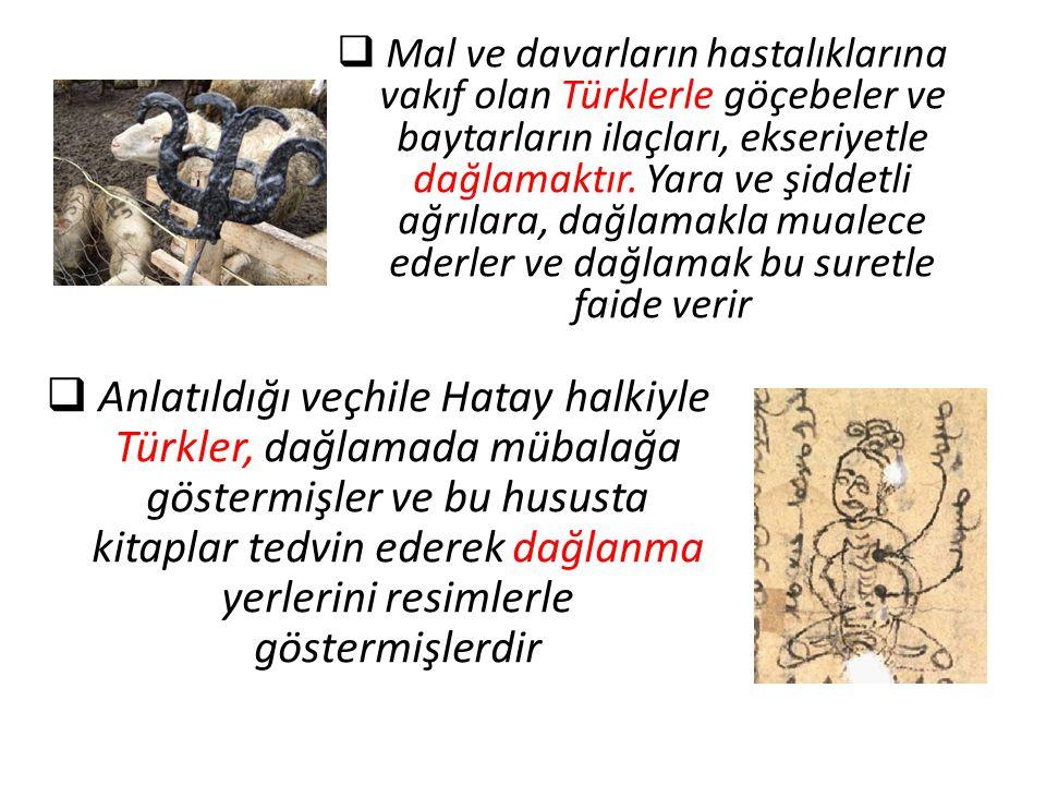  Mal ve davarların hastalıklarına vakıf olan Türklerle göçebeler ve baytarların ilaçları, ekseriyetle dağlamaktır. Yara ve şiddetli ağrılara, dağlama