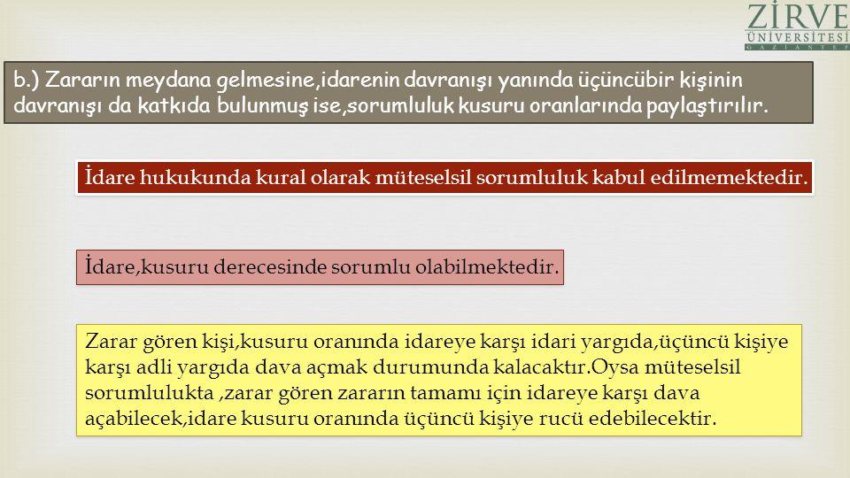 b.) Zararın meydana gelmesine,idarenin davranışı yanında üçüncübir kişinin davranışı da katkıda bulunmuş ise,sorumluluk kusuru oranlarında paylaştırıl