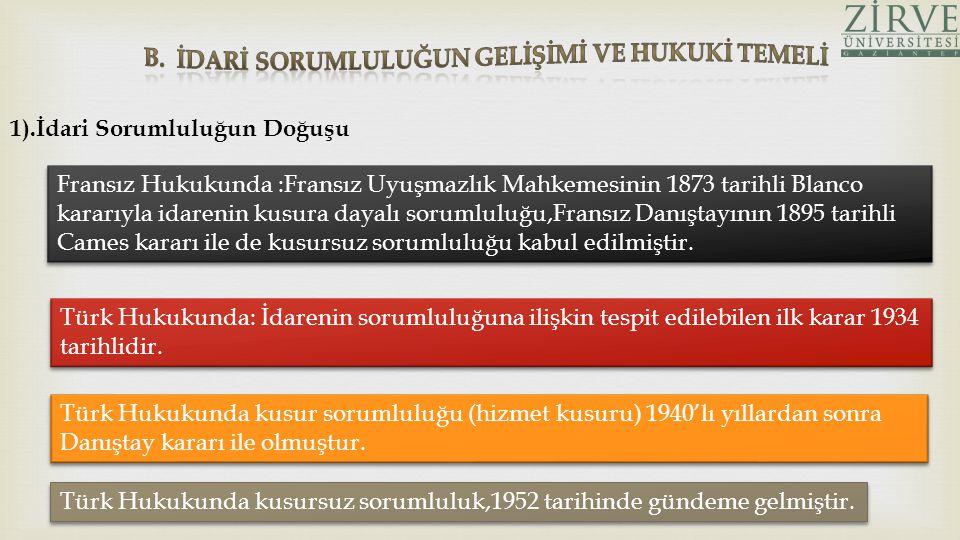  İdarenin sorumluluğunun temeli konusunda Türk öğretisinde ileri sürülen ilkeler: a.)Nimet ve külfetlerde eşitlik ilkesi b.) İmkan ve fırsat eşitliği ilkesi c.) Sosyal devlet ilkesi d.) Hukuk devleti ilkesi Devlet ve diğer kamu tüzel kişileri,hukuken ve fiilen,bireyler karşısında kamu gücü denilen üstün yetkilerle donatılmıştır.Bu denli etkili bir gücün,verdiği zararlar bakımında sorumluluk sahibi olması da hukuk devletinin bir gereğidir.