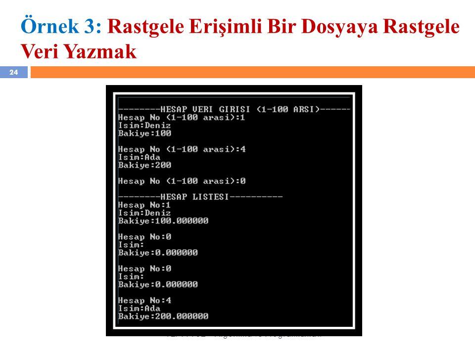24 YZM 1102 – Algoritma ve Programlama II Örnek 3: Rastgele Erişimli Bir Dosyaya Rastgele Veri Yazmak
