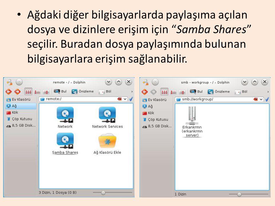 """Ağdaki diğer bilgisayarlarda paylaşıma açılan dosya ve dizinlere erişim için """"Samba Shares"""" seçilir. Buradan dosya paylaşımında bulunan bilgisayarlara"""
