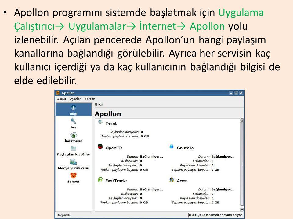 Apollon programını sistemde başlatmak için Uygulama Çalıştırıcı→ Uygulamalar→ İnternet→ Apollon yolu izlenebilir. Açılan pencerede Apollon'un hangi pa