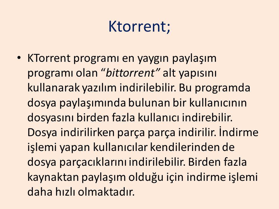 """Ktorrent; KTorrent programı en yaygın paylaşım programı olan """"bittorrent"""" alt yapısını kullanarak yazılım indirilebilir. Bu programda dosya paylaşımın"""