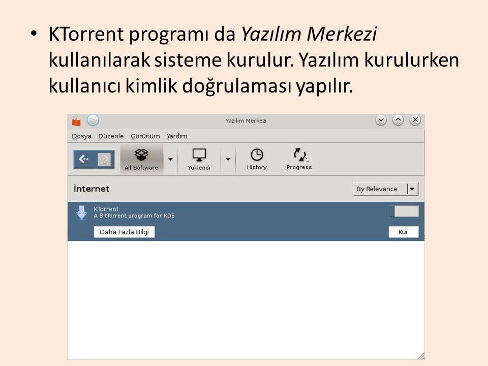 KTorrent programı da Yazılım Merkezi kullanılarak sisteme kurulur. Yazılım kurulurken kullanıcı kimlik doğrulaması yapılır.