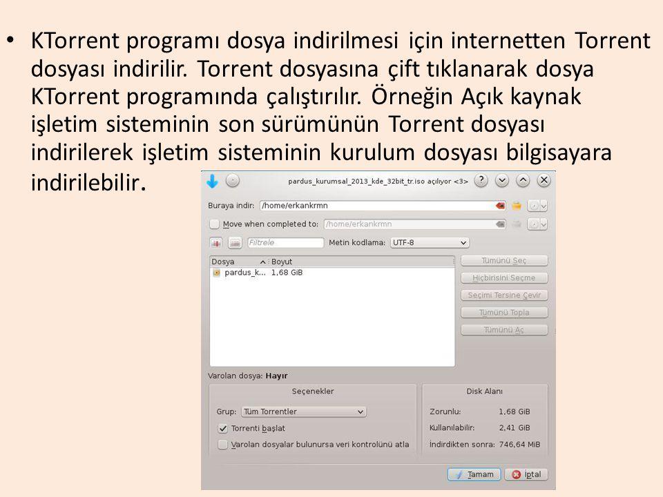 KTorrent programı dosya indirilmesi için internetten Torrent dosyası indirilir. Torrent dosyasına çift tıklanarak dosya KTorrent programında çalıştırı