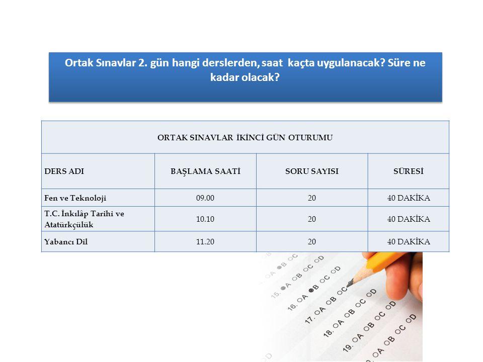 Ortaokulların 8 inci sınıflarında Türkçe, matematik, fen ve teknoloji, din kültürü ve ahlak bilgisi, T.C.