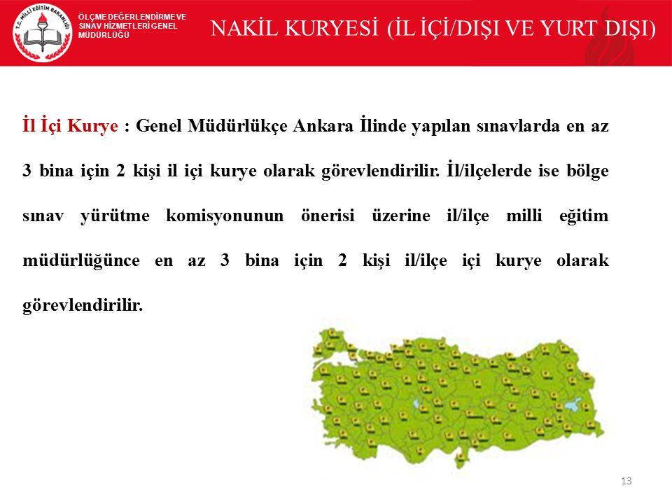 13 ÖLÇME DEĞERLENDİRME VE SINAV HİZMETLERİ GENEL MÜDÜRLÜĞÜ NAKİL KURYESİ (İL İÇİ/DIŞI VE YURT DIŞI) İl İçi Kurye : Genel Müdürlükçe Ankara İlinde yapı