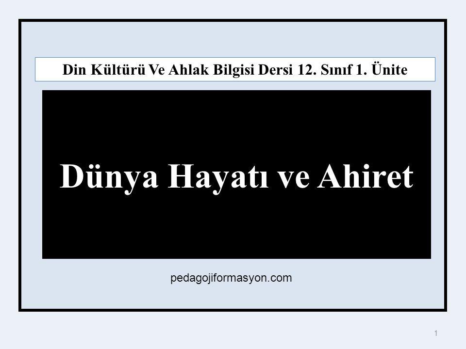 1 Dünya Hayatı ve Ahiret Din Kültürü Ve Ahlak Bilgisi Dersi 12.