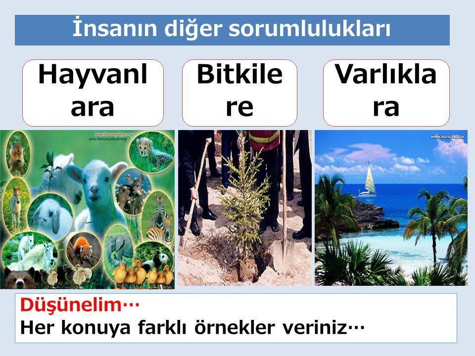14 İnsanın diğer sorumlulukları Hayvanl ara Bitkile re Varlıkla ra Düşünelim… Her konuya farklı örnekler veriniz…