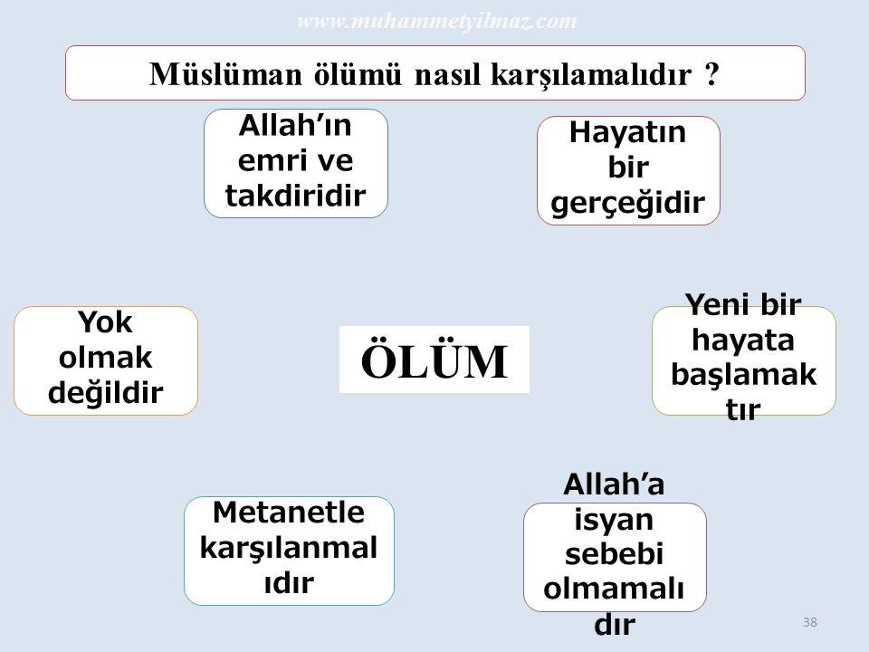 38 Müslüman ölümü nasıl karşılamalıdır .