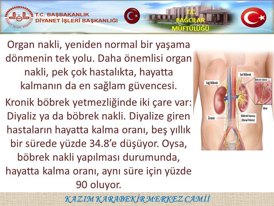 KAZIM KARABEKİR MERKEZ CAMİİ T.C. BAĞCILAR MÜFTÜLÜĞÜ Organ nakli, yeniden normal bir yaşama dönmenin tek yolu. Daha önemlisi organ nakli, pek çok hast