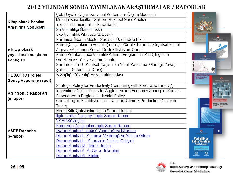 T.C. Bilim, Sanayi ve Teknoloji Bakanlığı Verimlilik Genel Müdürlüğü 26 | 95 2012 YILINDAN SONRA YAYIMLANAN ARAŞTIRMALAR / RAPORLAR Kitap olarak basıl