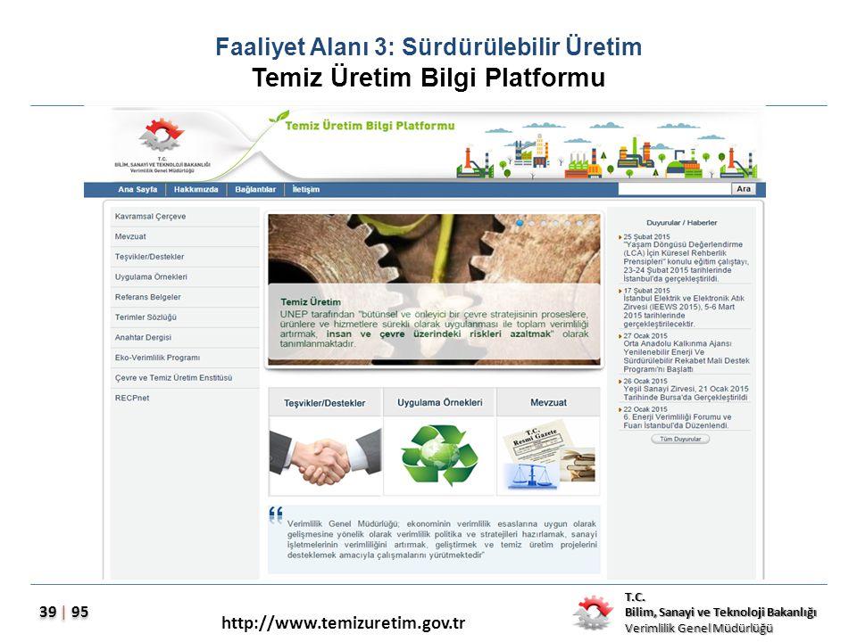 T.C. Bilim, Sanayi ve Teknoloji Bakanlığı Verimlilik Genel Müdürlüğü 39 | 95 Faaliyet Alanı 3: Sürdürülebilir Üretim Temiz Üretim Bilgi Platformu http