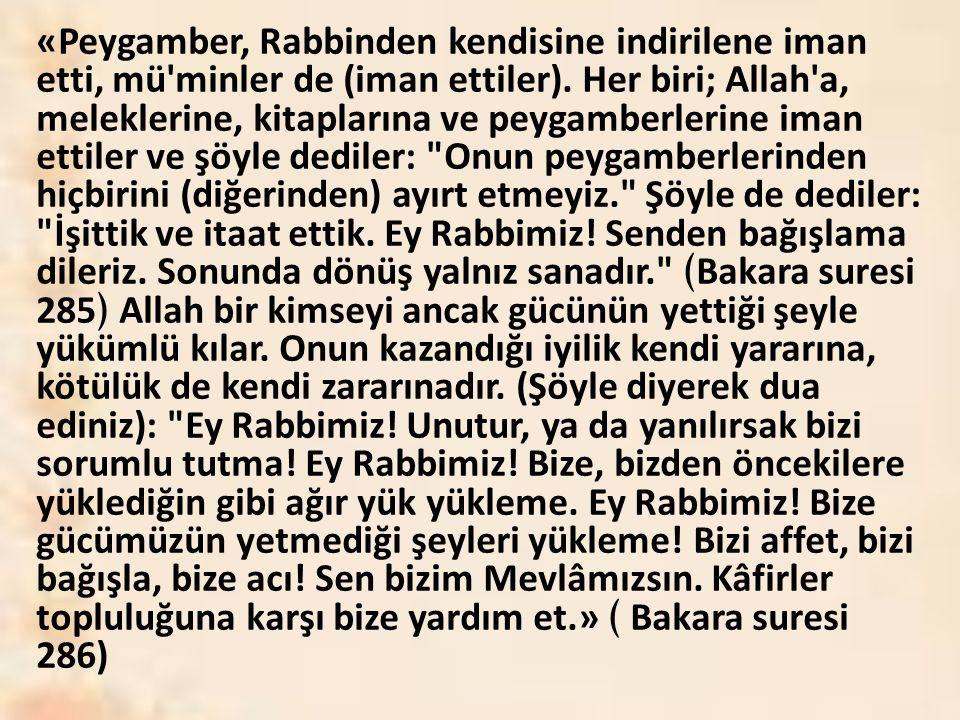 «Peygamber, Rabbinden kendisine indirilene iman etti, mü'minler de (iman ettiler). Her biri; Allah'a, meleklerine, kitaplarına ve peygamberlerine iman