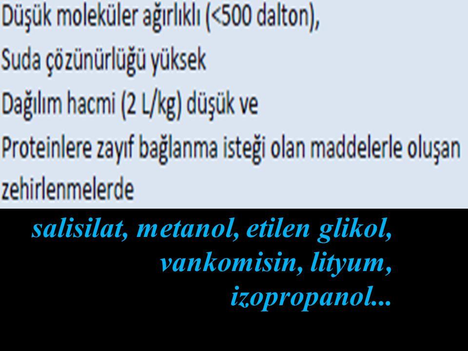 * Hemodiyaliz ve hemofiltrasyon, periton diyalizine göre 4-10 kat daha etkilidir.