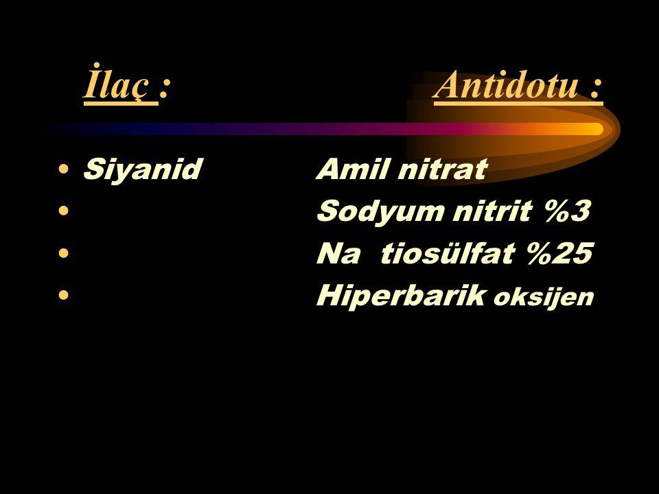 İlaç : Antidotu : Karbonmonoksit Oksijen