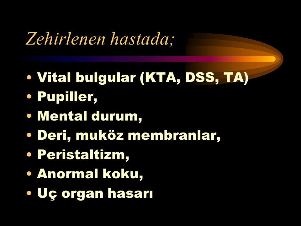 Fazla miktarda alındığında tedavi gerektiren maddeler: Kolonya ve benzerleri Deodorant, saç spreyleri Saç boyaları Kibrit ucu (20'den fazla) Oral kont