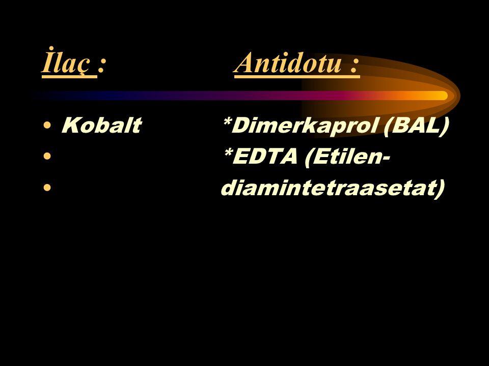 İlaç : Antidotu : Kurşun *Dimerkaprol (BAL) *Dimerkapto- süksinik asit *EDTA (Etilen- diamintetraasetat) *Penisilamin