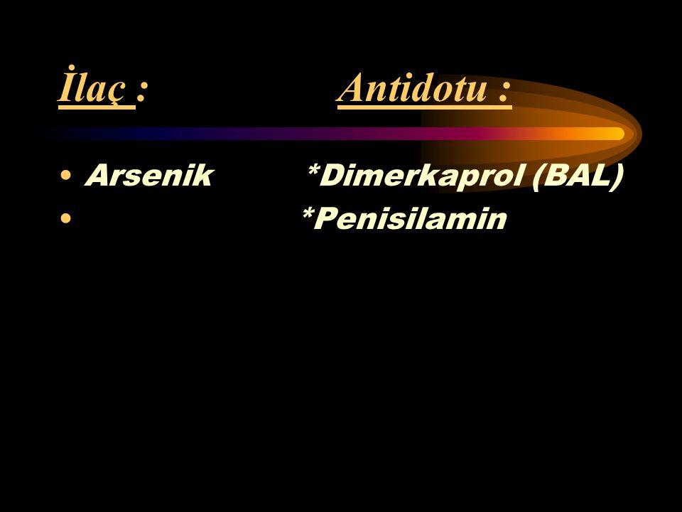 İlaç : Antidotu : Bakır *Dimerkaprol (BAL) *EDTA (Etilen- diamin tetraasetat) *Penisilamin